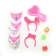 1 Set Jewelry Necklace Earring Bowknot Crown Present Accessory For Barbie DollsS