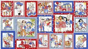 Loralie Designs Patriotic USA Cotton Fabric Panel 692-391-12 Red, White & Blue