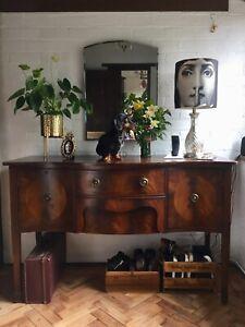 Serpentine Sideboard Vintage Walnut? Mahogany? Drawers Unit Brass