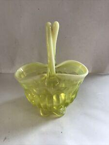 Davidson Vaseline Pearline Pressed Lady Caroline Basket Uranium 1891 Excellent