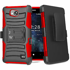 For ZTE Majesty Pro / Tempo Hybrid Armor Belt Clip Holster Kickstand Case Cover