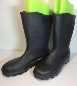 Unisex Rubber Rain Boots Black Mens 12 Or Womens 14 Waterproof Slipproof Slipons