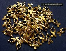 50 Cancer awareness hope ribbon charms antique gold plated zinc findings cfp070