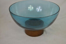 Glass Bowl with Wood Base Blue - Threshold