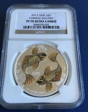 2012 NIUE $2 CHINESE KOI FISH SILVER COIN. PF70 ULTRA CAMEO. .REDUCED TO SELL