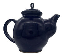 Old 85 Stoneware Pottery Studio Art Signed Tea Pot Kettle Purple Blue Glazed