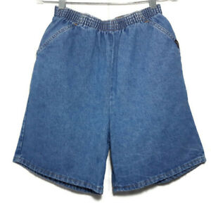 Vintage Chic Womens Sz 12 Blue High Waisted Mom Shorts Medium Wash Denim 80s