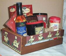 Fat Chef Coffee Gift Basket Crate Cookies Chocolate Creme Napkins Coffee Syrup