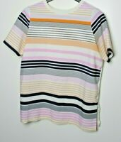 Ann Taylor Women's Top Short Sleeve Striped Front Solid White Back Size L