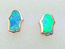 Yellow Gold Filled Light Blue Opal Hamsa Stud Earrings Fatima Hand Fashion Women