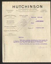 """PARIS (IX°) Caoutchouc / PNEUS VELO MOTO AUTOMOBILE """"HUTCHINSON"""" en 1917"""