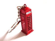 1x Trendy London Telephone Box Keychain British Red Telephone Booth Key Ring