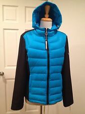 NWT Calvin Klein Lightweight Jacket Hood Down Multi Media Black Blue L