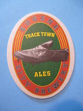 """Beer COASTER ~*~ EUGENE CITY Brewery """"Track Town Ales"""" ~ Sports Shoe! ~*~ OREGON"""