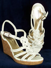 NWOB! ANTONIO MELANI White Leather Strappy Wedge Sandals w/ Cork Trim 10M