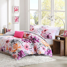 Comforter Set Queen / Full Size Teens Pink Floral 5 Piece Bedding Reversible