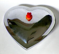 VINTAGE 1930'S CHROME - BAKELITE - GLASS VALENTINE CANDY BOWL
