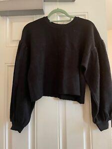 Free People Puff Sleeved Cropped Jumper Sweatshirt Top Black XS UK 6 BNWOT New