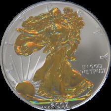 2007 American 1oz Fine Silver Gold Hologram Eagle $1 One Dollar Coin