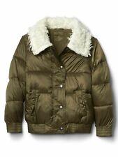 Gap Kids Girl's Olive Green Bomber Cozy Puffer Winter Jacket Coat S 6-7 NWT