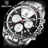 BENYAR Luxury Men Chronograph Date Wrist Watch Quartz Stainless Steel Strap
