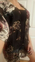 Women's Sheer Black Velvet Floral Kimono Jacket Duster Cardigan Tunic Top blouse