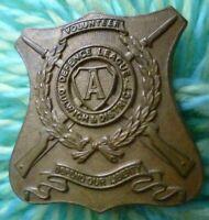 Defence League Dulwich & District Volunteer Badge Brass 2 Lugs ANTIQUE