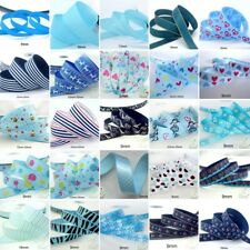 "25x1Yard Assorted Satin Grosgrain Ribbon Lot 3/8""--1.5"" BlueTheme Craft Bow-A"