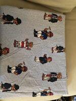 Ralph Lauren Teddy Bear Twin Flat Sheet Blue White Stripes Excellent