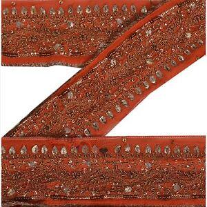 Sanskriti Vintage Orange Sari Border Hand Beaded Indian Craft Trim Sewing Lace