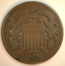1868 2 Cents United States Type Coin Copper Two Cent Good (G) #y3