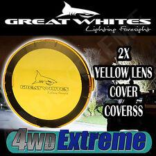 2x POLCARBONATE YELLOW LENS COVERS SUIT GREAT WHITES LED SPOT LIGHTS L.E.D LIGHT
