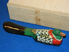 ancien CHAUSSE pied BROSSE canard peint VINTAGE Duck Brush WOOD holz shoehorn
