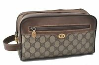 Authentic GUCCI Clutch Bag GG PVC Leather Brown B3403