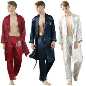 Men's Silk Satin Pajamas Long Pants Sleepwear Loungewear Trousers Nightwear Plus
