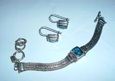 Sarda .925 Sterling Silver Blue Topaz Bracelet and Earrings Set