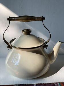 Vintage White Enamel Teapot Tea Kettle With Brass  Handle - Beautiful