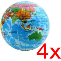 4 X WORLD EARTH GLOBE BALL SOFT SQUEEZY STRESS RELIEF NOVELTY ADULTS TOY MAP NEW