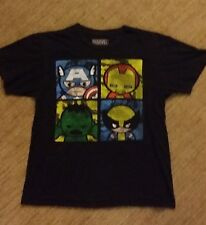 Marvel Comic Tshirt Avengers Cartoon Black  Pre-owned Large **FAST SHIPPING**