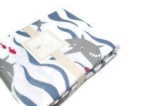 Pottery Barn Kids Organic Cotton Nautical Shark Full Queen Duvet Cover New