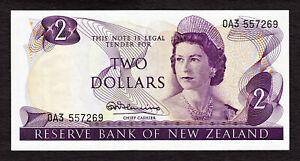 New Zealand 2 Dollars ND (1967-68) QEII Prefix 0A3 Pick-164a Crisp aUNC
