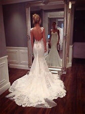 Fashion Sexy Backless Lace Mermaid Bridal Wedding Dresses Gowns Custom Size Hot