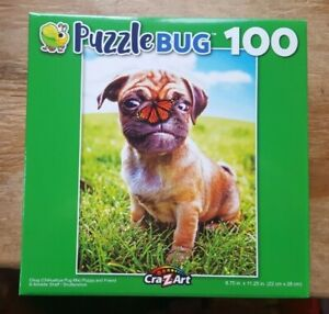 100 PIECE PUZZLEBUG JIGSAW PUZZLE - PUPPY DOG AND BUTTERFLY (brand new & sealed)