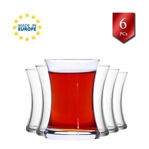 Turkish Tea Glasses Set of 6, Traditional Crystal Clear Glass Tea Cups 6 Oz