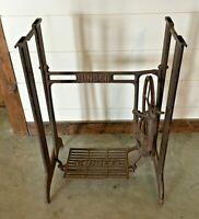 Vintage Singer Treadle Sewing Machine Cast Iron and Steel Base Stand Farmhouse