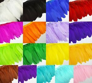 """(Ys) 6"""" Dyed Natural Goose/Duck Big Feather Fringe Craft Trim EarRing Fascinator"""