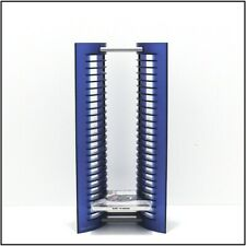 "Atlantic 25 CD Jewel Case Storage Rack Tower Blue Plastic 15.5"" tall"