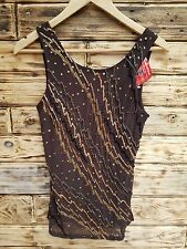 Womens Summer Top 12 UK Kaleidoscope BNWT sequin Beadwork Brown's golds