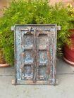 Antique Wooden Cabinet Window Style Door Beautiful Handcrafted Blue Painted Door