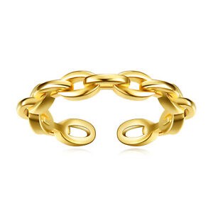 Stainless Steel Cable Chain Adjustable Ring For Women or Teenage Girls